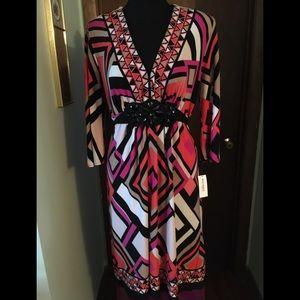 Dressbarn Geometric Pattern Dress Size 10 NWT